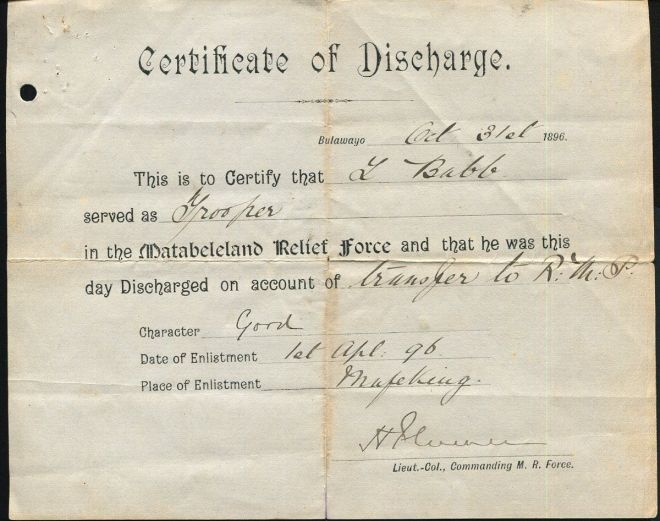 L Babb Trooper Discharge Document