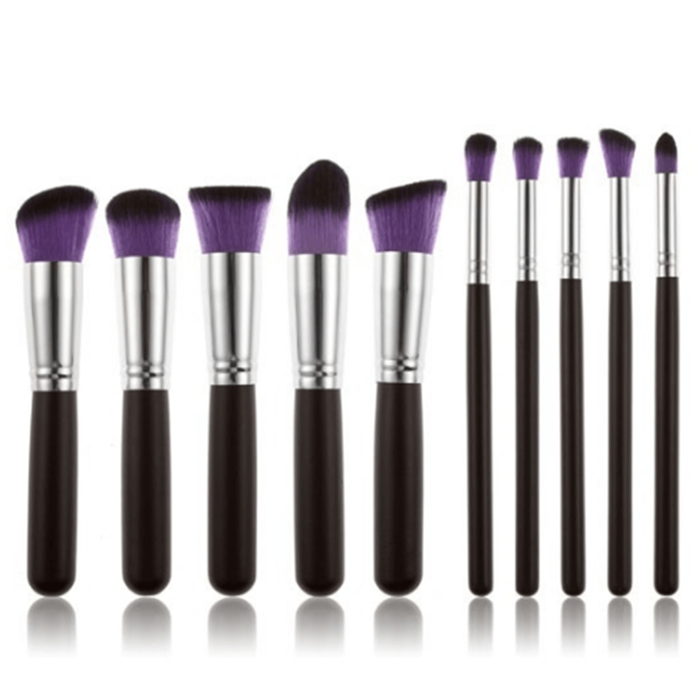 10 Professional Make Up Brushes purple