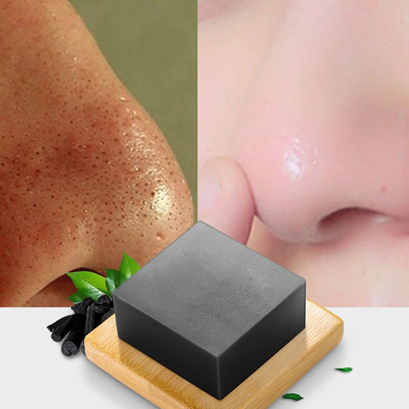 100g Handmade Bamboo Charcoal Soap Deep Face Cleansing Skin Whitening Blackhead Remover Oil Control Acne Treatment 2