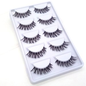 5 Pairs Natural Fashion Eyelashes Eye Makeup Handmade Cross Long False Lashes 3