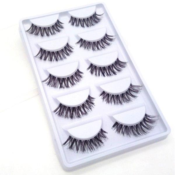 5 Pairs Natural Fashion Eyelashes Eye Makeup Handmade Cross Long False Lashes 3