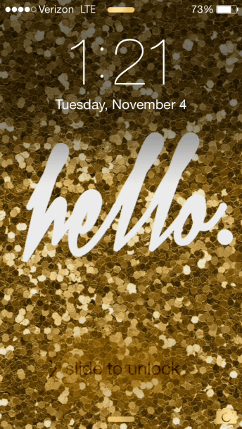 """Gold Glitter Hello"" iPhone Wallpaper"