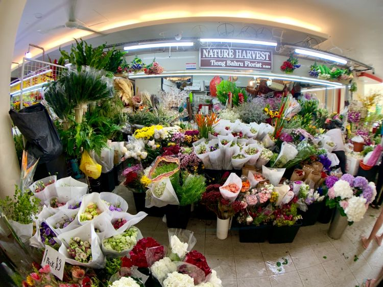 flower bouquets at Nature Harvest at Tiong Bahru Market
