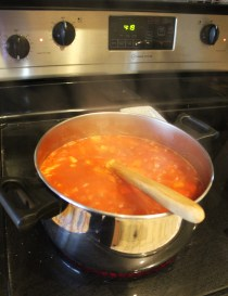 Cheesy Enchilada Soup Simmering