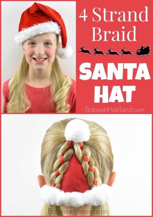 Santa Hat Hairstyle from BabesInHairland.com #santa #christmas #hairstyle #christmashairstyle #santahat