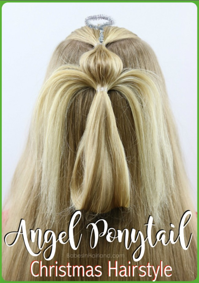 """Look positively Angelic! This darling angel ponytail hairstyle will have you singing """"Angels We Have Heard on HAIR"""" this Christmas seasons! Try this cute hairstyle for Christmas this year from BabesInHairland.com #hairstyle #hair #ponytail #christmashairstyle #angel #christmas"""