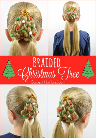 Braided Christmas Tree Hairstyle from BabesInHairland.com
