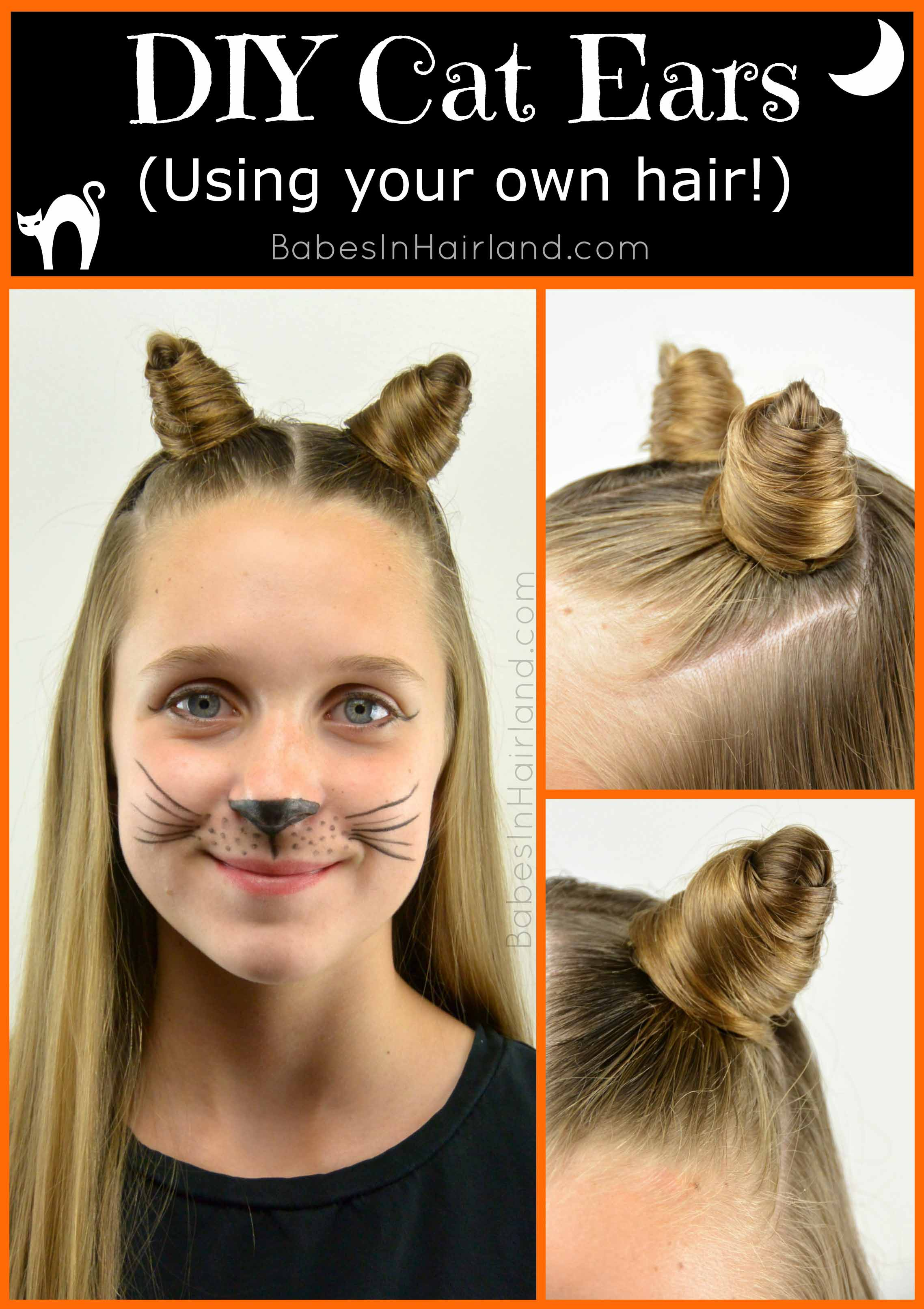Halloween costumes under 10 hairstyles babes in hairland diy cat ears using your own hair from babesinhairland halloween cat baditri Gallery