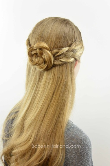 5 Strand Pullback & Flower Braid (Rosette) from BabesInHairland.com #hair #hairstyle #5strandbraid #hairflower #flowerbraid