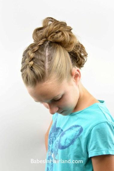Dutch Braid Messy Bun Fauxhawk from BabesInHairland.com #fauxhawk #dutchbraid #buns #hair