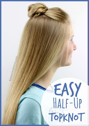 Be out the door in minutes with this quick & easy half-up topknot hairstyle tutorial from BabesInHairland.com   teen hairstyle   bun   hair