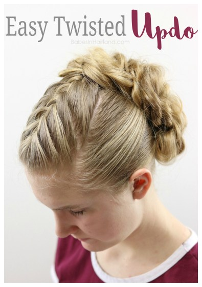 Need an easy updo for prom or a wedding? Try this easy twisted updo hairstyle for all your special occasions. BabesInHairland.com   hair   twists   French braid