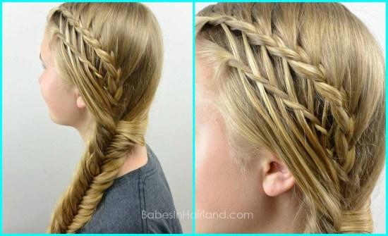Feather Braided Fishtail Combo from BabesInHairland.com #fishtailbraid #fishbonebraid #waterfalltwist #featherbraid #hair