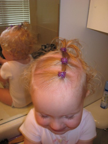 three baby ponytails