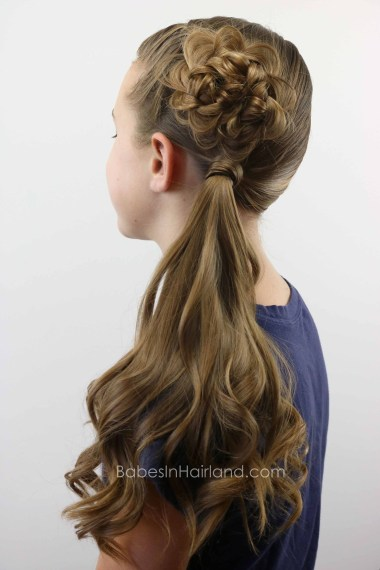 Flower Braid (Rosette) Topped Ponytail from BabesInHairland.com #hair #flowerbraid #ponytail #hairstyle
