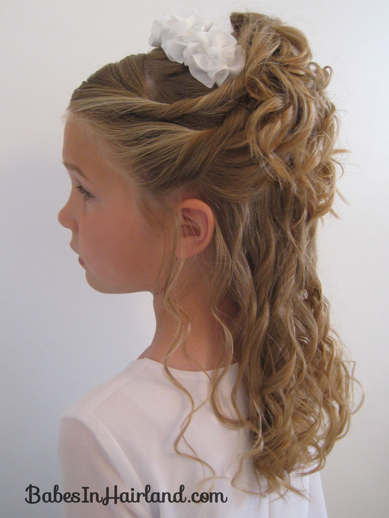 wedding hair styles for little girls pile of curls amp a headband in hairland 8487 | IMG 6440 Baptism Updo BridalV