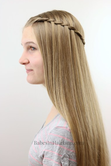 Let my teenager show you how to do a waterfall twist braid on yourself. It's fast and easy and looks so pretty! BabesInHairland.com | hair | hairstyle | braid |