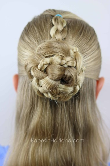 Love 4 strand braids? Try this beautiful Half-Up Braids & Bun hairstyle for a hot summer day. BabesInHairland.com | 4 strand braids | bun | updo | half-up| hair | hairstyle
