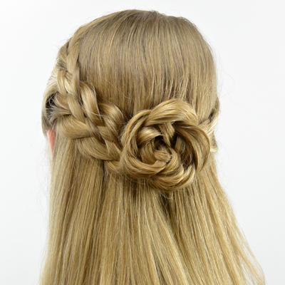 5 Strand Pullback & Flower Braid (Rosette)