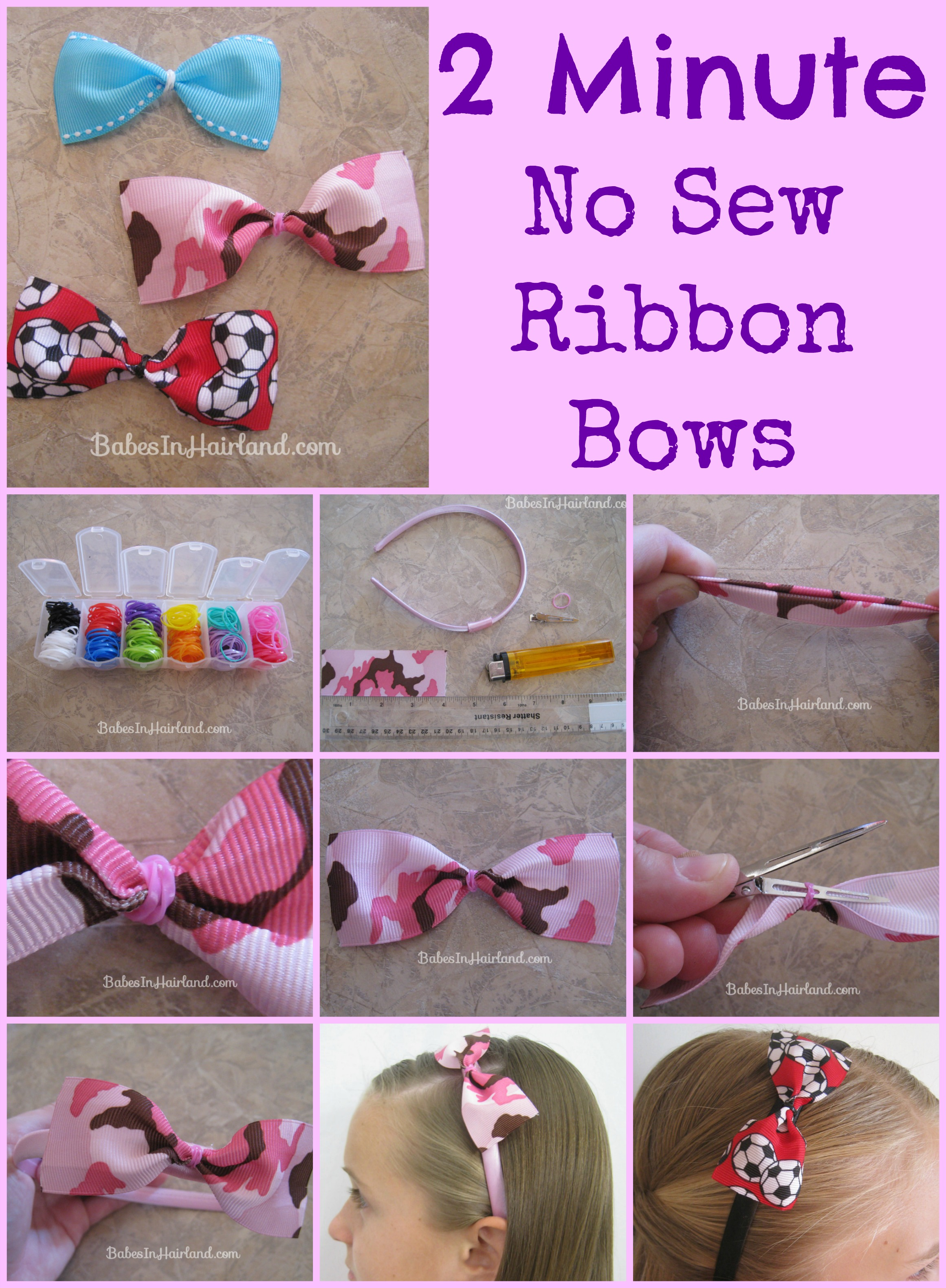 2 Minute No Sew Ribbon Bows Babes In Hairland