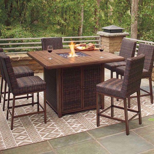 denver 7 piece outdoor firepit table set