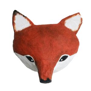 papiermache dierenkop van en vos voor aan de muur