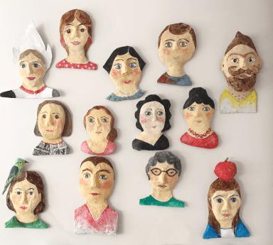 mensportretten van papiermache