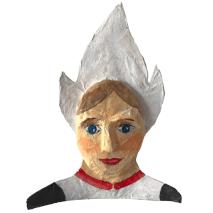 papiermache portret van een meisje in nederlandse klederdracht