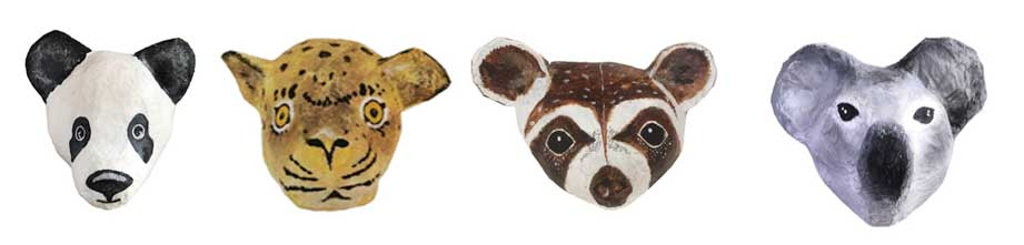 dieren koppen papier mache kinderkamer