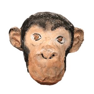 papiermache aap voor aan de muur