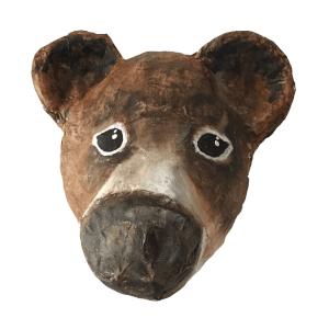 Berie Beer is een papiermache beer voor aan de muur