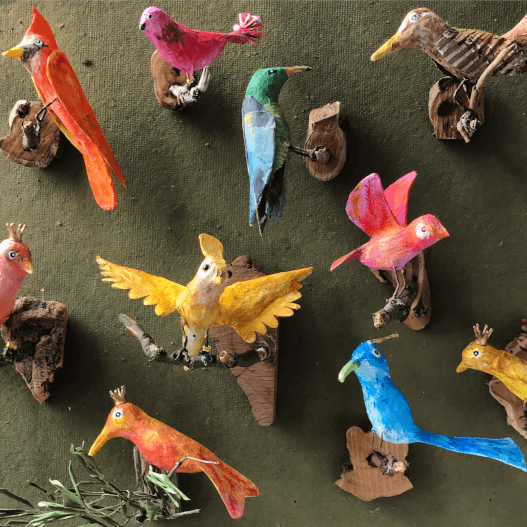 papiermache-dieren-vogels