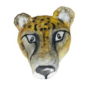 papiermache dierenkop van een cheetah