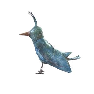 unieke papiermache fantasievogel antiekblauwe papiermache vogel