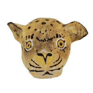 luipaard van papiermache voor aan de muur van de kinderkamer