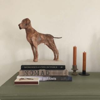 papiermache hond Guus staat te prijken op een stapel boeken.