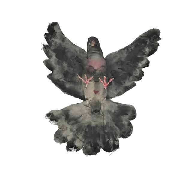 linnen duif beschilderd fauxtaxidermy