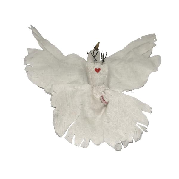 witte duif groot linnen fauxtaxidermy softsculpting
