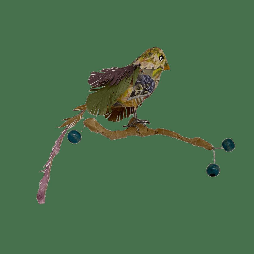 vogeltje op balkje met besjes genaamd bloemig