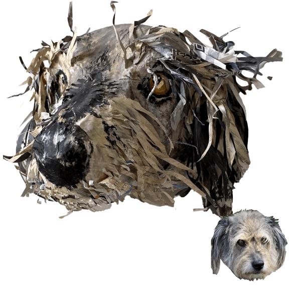 huisdierportret hond papiermache