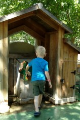 Spinning the water wheel outside