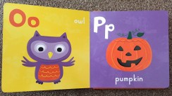 Page of Halloween ABC book - O for Owl on yellow background with a purple owl illustration, P for Pumpkin is a purple background with an illustrated carved pumpkin smiling