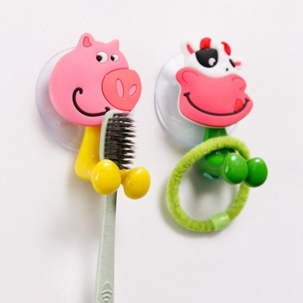 1 Piece Baby Care Toothbrush Holder Cute Cartoon Animal Shape Holder Sucker Suction Hooks Set Hanging 2