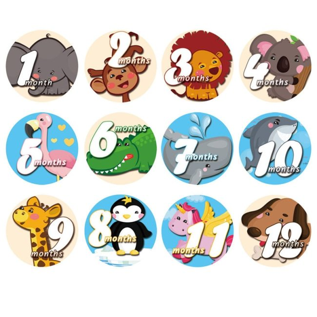 12 Pcs Month Sticker Baby Photography Milestone Memorial Monthly Newborn Kids Commemorative Card Number Photo Accessories 3