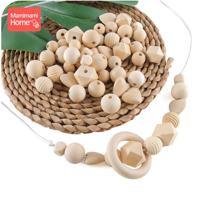 45pc Wooden Beads Baby Teether Making Pacifier Chain Wooden Rodent DIY Crafts Newborn Teething DIY Accessories 1