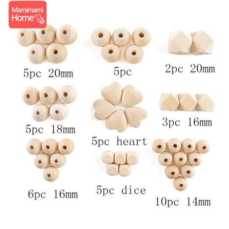 45pc Wooden Beads Baby Teether Making Pacifier Chain Wooden Rodent DIY Crafts Newborn Teething DIY Accessories 2