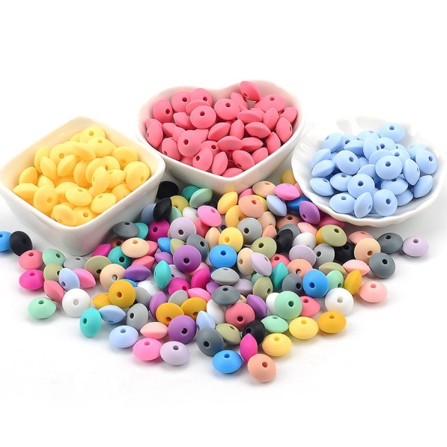 50pcs lot 12mm Silicone lentil Beads Silicone BPA Free DIY Charms Newborn Nursing Accessory Teething Necklace 3