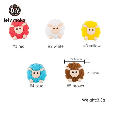 5pc Silicone Beads Sheep Cartoon Animal BPA Free Baby Teether DIY Accessories Baby Teething Necklace Food 1