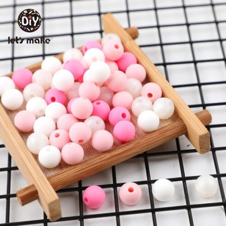 9mm 50pc Silicone Beads Round Baby Teether Eco friendly BPA Free Baby Teething Pacifier Chain Bead 5