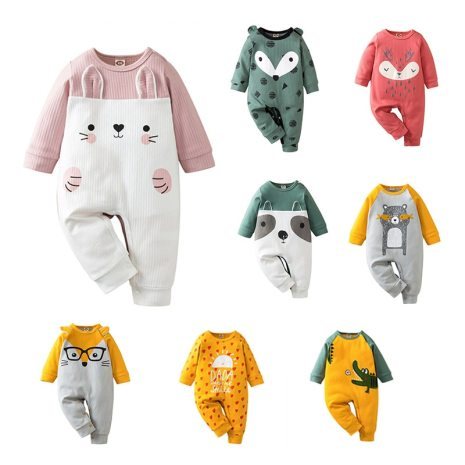 Autumn Kintted baby clothes full sleeve cotton infantis baby clothing romper cartoon costume ropa bebe newborn